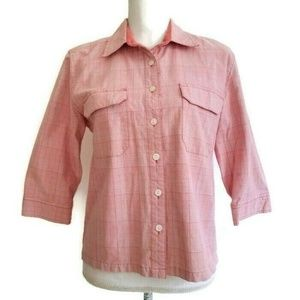 Christopher & Banks M Pink Plaid Button Down Shirt